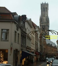 City Hall and Belfry of the Bruges museum ( Stadshall en Bruggemuseum Belfort) seen from the Wollestraat Bruges Belgium copyright free photo royalty free photo January 2007